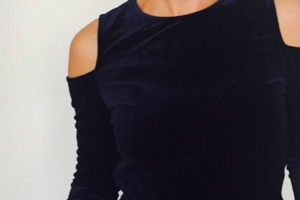 Velvet cold shoulder top
