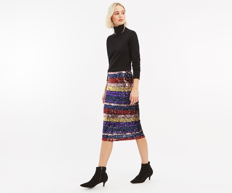 5682de228d ... here's 10 of the best around right now… Wallis Green Sequin Skirt  sequin skirt; Oasis Rainbow Tube Skirt ...