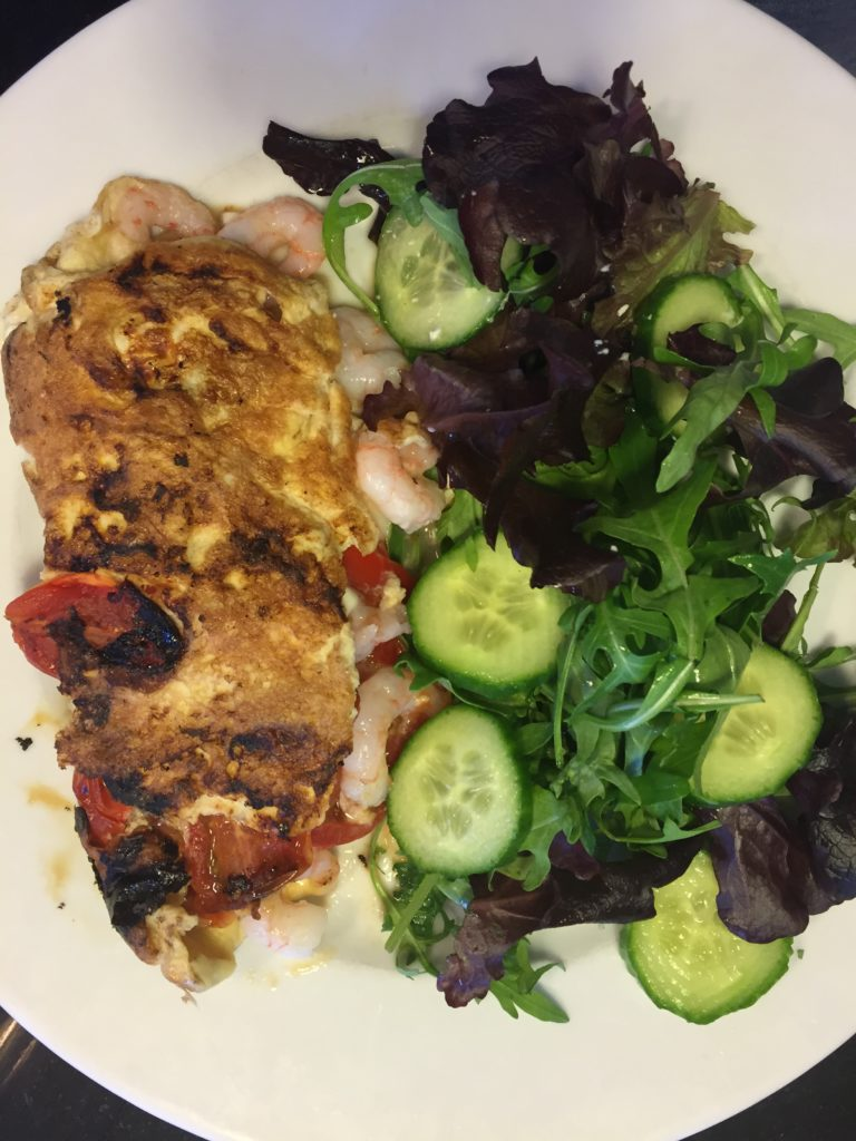 Prawn, pepper, tomato & feta omelette