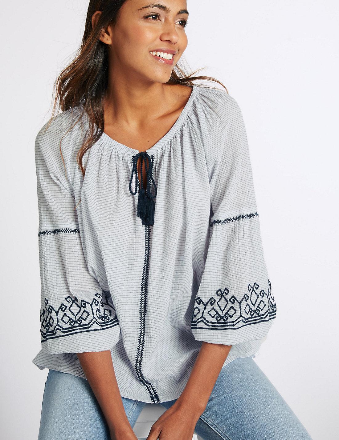 M&S folk blouse
